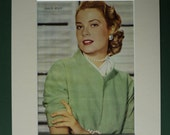 Original 1950s Grace Kelly Print - Matted - Movie Star - Hollywood - Film - Glamour - Green - Portrait Photo