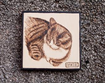 8 x 8 Custom Woodburning Pet Portrait