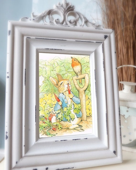 Vintage Peter Rabbit Print, Beatrix Potter Digital Collage, Baby/Bridal Shower, Birthday,Whimsical Wall Art, Decal : RESOLUTION as 600 ppi