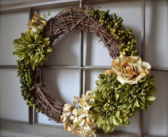 "Spring Wreath. All Season Wreath. Spring Decor. Green Wreath. Ivory Wreath. Grapevine Wreath. 20"" Wreath."