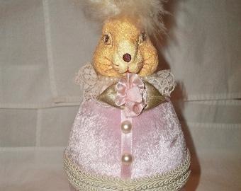 velvet bunny egg container/ornament