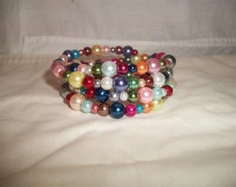 Colorful Pearl Coil Bracelet Rainbow Handmade Jewelry