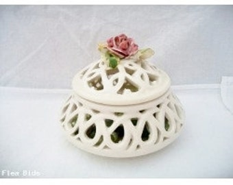 Vintage Bone White Rose Trinket Box Floral Cut Out Porcelain 1970s Shabby Chic Wedding