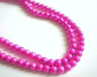 100 Cyclamen Glass Beads,Neon Cyclamen Pearls