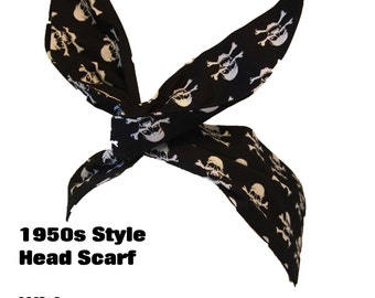 Vintage 50s Skulls And Cross Bones Head Scarf -  Hair Tie - 1950s Pin Up Pirate Bandanna Head Tie Nautical Navy Sea Flag