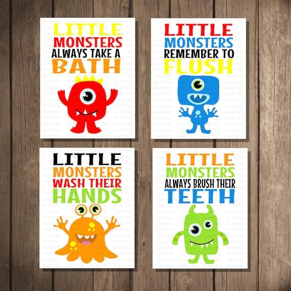 Instant Download - Printable Monster Bathroom Art Set Room Decor, Baby ...