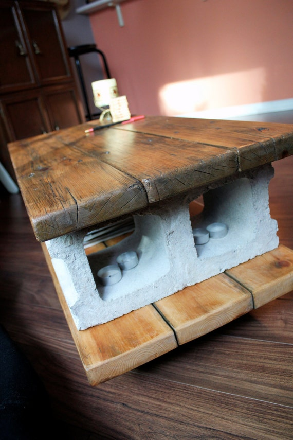 reclaimed coffee table cinder lights. Black Bedroom Furniture Sets. Home Design Ideas