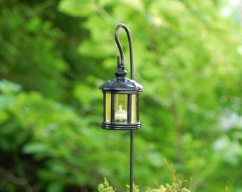 Fairy Garden Handcrafted Lantern, Round Or Square, Shepherdu0027s Hook  Included, Miniature Black Lantern