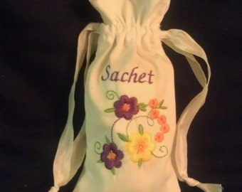 Sachet filled with Lavender and Rose/Embroidered Bag