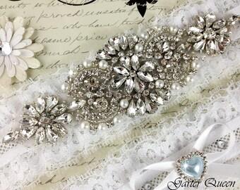 Lace Wedding Garter, Bridal Garter Set, White Garter, Something Blue, Wedding Garter Set, Bridal Garter Set