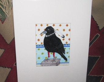 """Crow gets ready for Pow Wow 11 x 14"""" matted"""