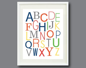 Alphabet Print - 11x14 -For Nursery, Kids Room, Playroom-Mustard Yellow, Red, Orange, Blue, Green, Grey/Gray OR Choose your own Colors