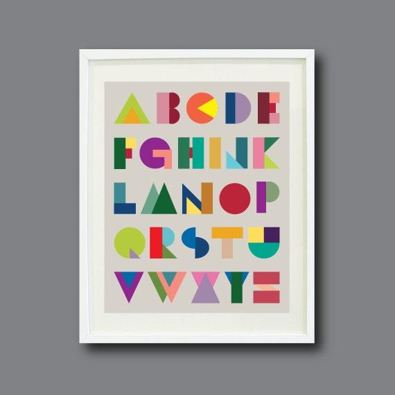 Geometric alphabet art print 8x10 by gatherednestdesigns for Best home decor on etsy