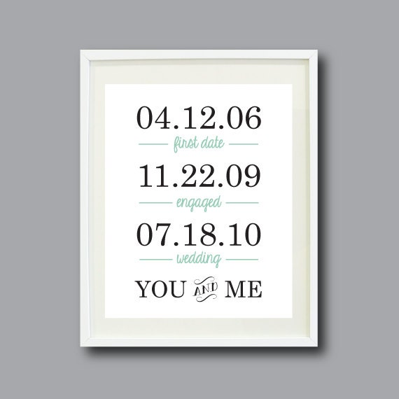 Important Dates Art Print-11x14-Personalized Anniversary Present-Housewarming Gift-Special Dates-Grayed Jade-Black OR Choose Colors-You & Me