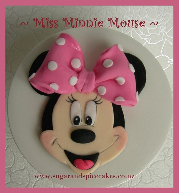 Make Edible Cake Pictures : Items similar to 1 Minnie Mouse edible fondant gumpaste ...