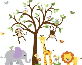 Girl Room Wall Decal, Nursery Wall Decal, Jungle Wall Decal, Tree Wall Decal, Purple nursery, Double Monkey Royal Evergreen Design