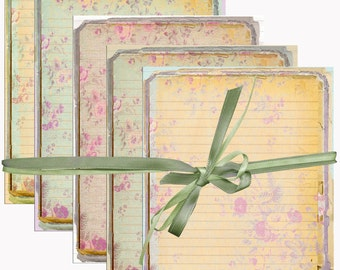 Digital Lined Paper  Shabby Chic Flowers,Textured, Distressed. Printable Digital Collage Sheet INSTANT DOWNLOAD Scrapbooking,Cards