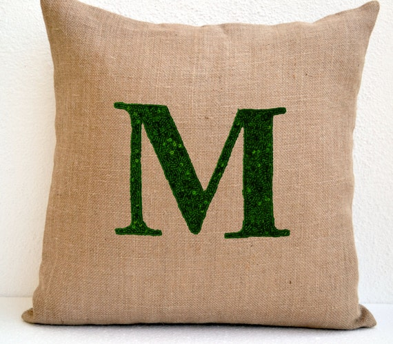 Personalized Sequin Monogram Decorative Pillow Cover Sequin