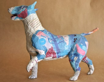Bull Terrier, Unique Whimsical Paper Mache Dog Sculpture