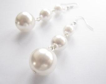 Elegant white pearl earrings