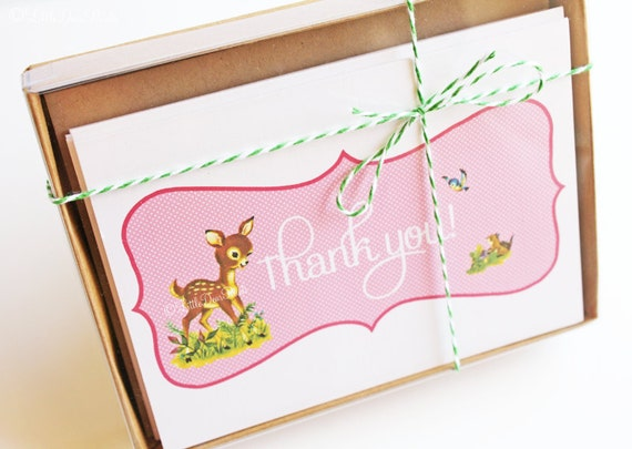 "Vintage Woodland Deer ""Thank You"" Card- Kitschy, Kawaii, Sweet Thank You Card"