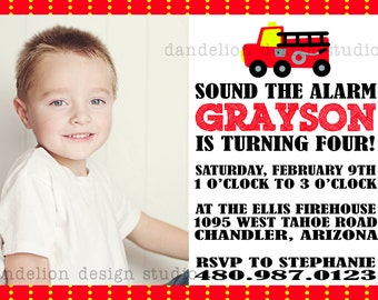 PRINTABLE Photo Invitation - One Photo Invite - Fire Truck Party Collection - Dandelion Design Studio