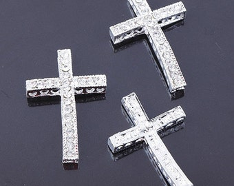 10pcs plating Silver Rhinestone Crystal Sideways Cross Connectors Beads Jewelry Finding