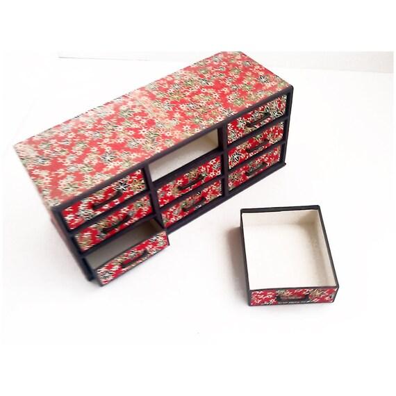 Japanese Cabinet Paper Cardboard 9 Drawer Made in Japan