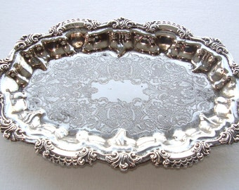 SILVER PLATED MINIATURE Cake Tray With Little Feet.