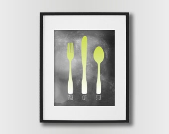 Kitchen Wall Art - Fork Knife Spoon Kitchen Sign - Dining Room Wall Art - Kitchen Prints - Modern Kitchen Decor - Lime Green Kitchen