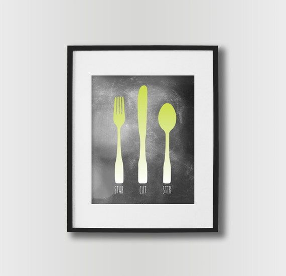 Kitchen wall art fork knife spoon kitchen sign dining room for Kitchen dining room wall art