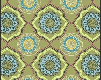 Fabric Alhambra II 'Cameo Garden' Cashmere by Pat Bravo Art Gallery Fabrics Green Blue Yellow