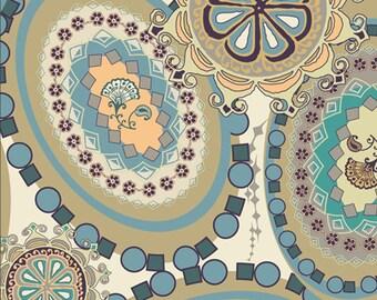 Pat Bravo Fabric 'Gipsy Glitter' Slate Medallions Art Gallery Fabrics Modern Retro Blue Stone Green