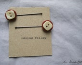 Brown and White Button Bobby Pins