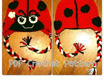 PDF Crochet Lady Love Bug Beanie. Newborn to Adult Sizes. Permission to sell finished products. INSTANT DOWNLOAD