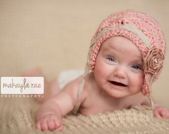 3 mo Baby Hat, Vintage Inspired  Baby Bonnet, Newborn Baby Bonnet, Baby Photo Prop Hat, Baby Girl Bonnet, Newborn Photo Prop, Pink Baby Hat