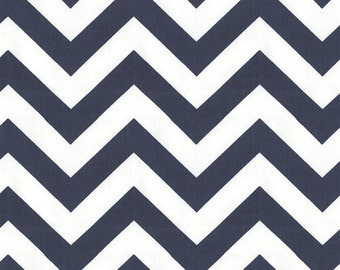 One Half Yard  Zig Zag in Navy Blue 100% Cotton