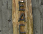 PEACE SIGN Rustic Reclaimed Hemlock Wood & Apple Wood Twig Lettering Home Decor