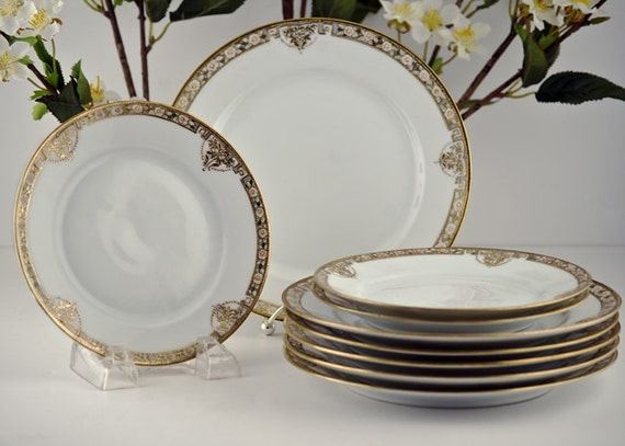 Royal Crockery, RC Noritake Gold Moriage Beading China Plates, 9pc Set