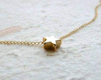 Tiny star necklace, Gold Filled necklace, Delicate necklace, Simple Tiny necklace, Bridesmaid necklace, Minimalist