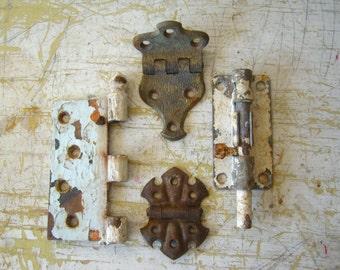 set of four mismatched vintage hinges/lock