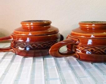McCoy Covered Soup Bowls Stoneware Parisianne Pottery