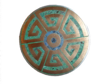 0n SALE Vintage Mexican Brooch Turquoise, Silver, and  Copper Tribal Ethnic Design