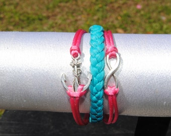 Nautical Anchor Infinity Leather Bracelet Great for Weddings, Friends, Mothers and More