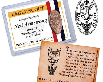 Personalized Eagle Scout trading card with Elongated Coin