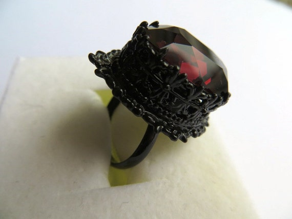 Gothic Medieval Black Ring with Burgundy Swarovski