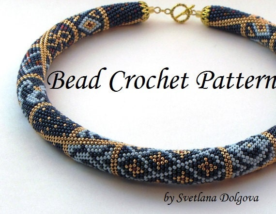 Crochet Patterns With Beads : Pattern for bead crochet necklace Marrakesh,Crochet Necklace Patt...