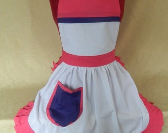 Vintage 50s Style Full Apron / Pinny - White, Pink & Purple