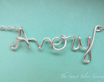 Custom Name Necklace • Personalized Name Jewelry • Wire Word Necklace • Bridesmaid Gift • Dainty Name Chain • Gifts Under 20 • Gifts For Her