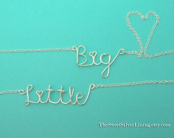 Sorority Big Little Sister Necklace Set • Wire Necklace • Sorority Gift Jewelry • Big Little Reveal • Big Little Sister Gifts
